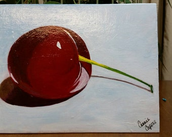 Cherry still-life painting on 8x10 canvas board