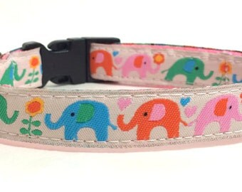 Colorful Elephants Dog Collar for Small Dogs