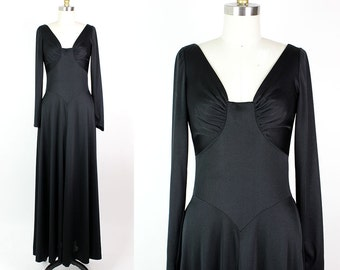 Long Sleeve Maxi Dress • 70s Anne Fogarty Dress S • Sweetheart Neckline Flared Dress