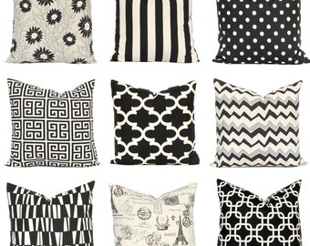 Black Pillow Covers, Black Cushion Covers, Sofa Pillows, Decorative Throw Pillow Covers, Cushion Covers Onyx Black and Natural Floral Stripe