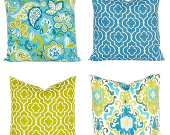 Teal Pillow Covers - Throw Pillow Covers - Deep Blue Pillow Covers - Damask Pillow Covers - Turquoise Pillow Covers - Sofa Pillows