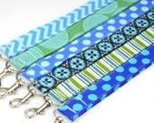 LANYARD- Badge ID Holder. Fabric Neck Key Chain- Blues