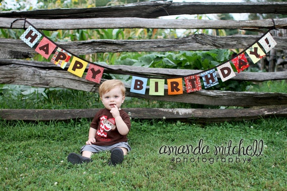 Eco-Friendly Reusable HAPPY BIRTHDAY Fabric Banner - Funky Monkey