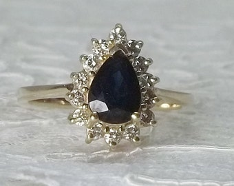 Vintage 14k Yellow Gold .22 TCW Diamond and .75 CT Blue Sapphire Halo Engagement Ring Size 5.75