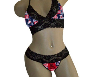 Sexy Arizona Wildcats NCAA Lingerie Black Lace Cami Bralette Style Tie-Top and Matching G-String Panty Thong CUSTOM Sizing