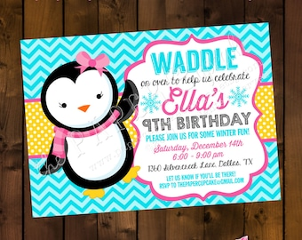 Printable Invitation Design - Peppy Miss Penguin Collection - DIY Printables by The Paper Cupcake