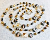 Sophisticated/ Long Gold Freshwater Pearl and Black Glass Beaded Silver Jewelry Set