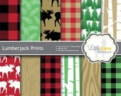 Lumberjack Patterns Digital Paper, Buffalo Plaid, Red and Black Plaid Print, Forest Scrapbook Paper, Commercial Use
