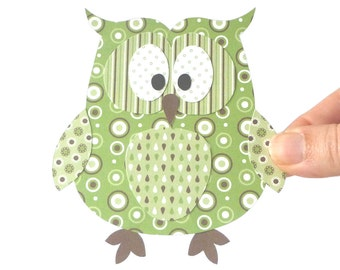 50% Off - Layered Paper Owl Printable - Green Paper Craft Embellishment