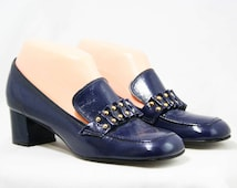 1960s Navy Blue Shoes - Size 6 1/2 M - Slick Wet Look Vinyl - 60s Pumps - Studded Ribbon Candy Detail - Charm Step - Deadstock - 43230-1