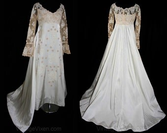 Size 8 Wedding Dress with Train - 1960s Satin & Antiqued Beige Lace Bridal Gown by Priscilla of Boston - NWT - Bust 35 - Waist 28 - 31791-1