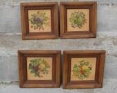 framed fruit pictures set of 4 beveled wooden frames french country