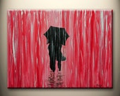 red black white original painting, walking in rain,love couple,24x18 inch,on stretched canvas,great wedding gift