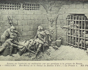 Unused Vintage French Postcard - Joan of Arc in Prison