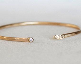 Diamond Cuff - 2mm Gold Leaf Cuff - Hammered Gold Diamond Cuff