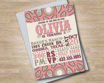 Cowgirl Invitation, Cowgirl Invite, Pink Bandana Pattern