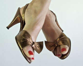 Bronze Slingback Shoes 60's Ballroom Dancing Barefoot Originals size 7