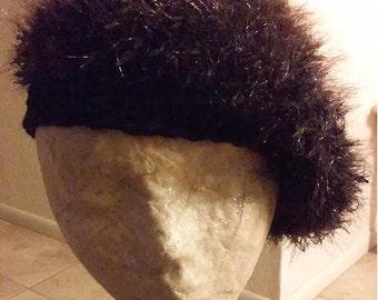 Hairy Black Crocheted Beanie