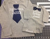 Gray Big Brother- Little Brother Matching Set with personalized hat