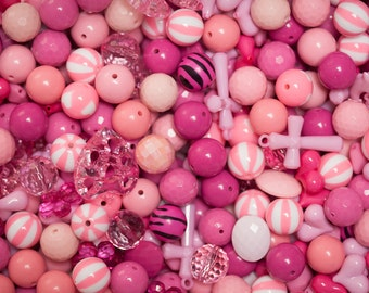 1 Pound of Pink Mixed Beads for Chunky Necklaces  over 100 beads lot  Bubble Gum Necklace Beads