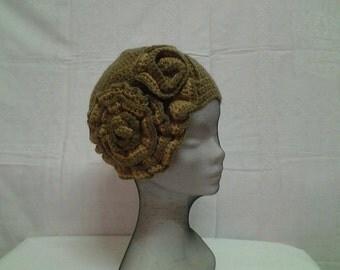 Vintage 1920's Crochet Women Brown and Beige Hat ,Boho Style Crochet Accessory  Hat ,Flapper Brown Beret