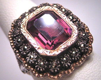 Antique Amethyst Rose Cut Ring Gold Victorian Art Deco 1930