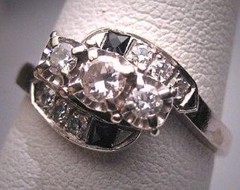Antique Diamond Sapphire Wedding Ring Band Art Deco 20s Engagement