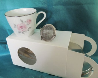 Sample of teas with Demi Cup, herb teas, infuser, decorative ceramic tea cup