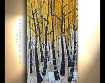 """Made to Order 72"""" Custom Size Art Made to Order Birch tree Aspen Abstract Art painting Birch tree flower Large Modern Painting by OTO"""