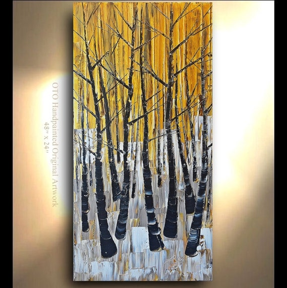 "Made to Order 72"" Custom Size Art Made to Order Birch tree Aspen Abstract Art painting Birch tree flower Large Modern Painting by OTO"