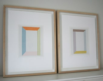 Pair geometric prints, contemporary screen prints, pretty colours, handmade original work on paper by Emma Lawrenson. Modern wall decor