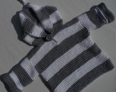 Hoodie/jumper/sweater, for a baby boy or girl,hand knittedsize 0-6 months, 100% cotton gray/white stripe.