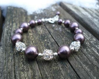 Callie: Burgundy Swarovski Pearls and Fireball Bracelet
