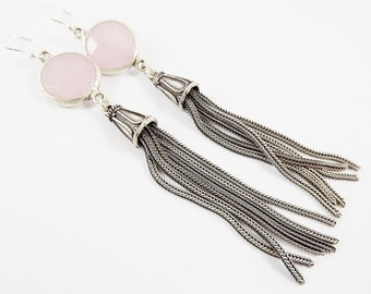 Pale Pink Round Gemstone Tassel Earrings - Jade - Matte Silver plated with Sterling Silver Earwire - Boho Gypsy Style