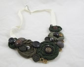 Vintage Rose Necklace Upcycled Jewelry buttons Recycled t-shirts Shabby Chic One Size Fits Most Green Military buttons Steampunk ooak