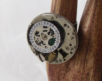 Steampunk Ring Recycled Watch Parts Movement NeoVictorian Boho Upcycled Jewelry bohemian cogs gears electric watch parts