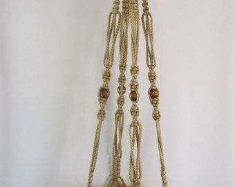 MACRAME Plant Hanger Vintage Style 44inch 6mm Sand cord with BEADS  (Choose Color)