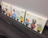 Baby Nursery Art, Set of 3 11x14, Baby Art Print, Baby Room, Choo Choo Train, Owl, Elephant, Giraffe, CANVAS Gallery Wrap, original artwork