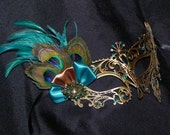 Peacock Metal Masquerade Mask with Teal and Bronze Accents