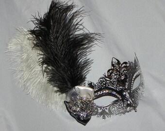 Black and Silver Metallic Masquerade Mask - Made to Order
