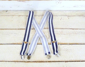 Vintage blue/white striped wide stretch suspenders/canvas clip suspenders/striped braces