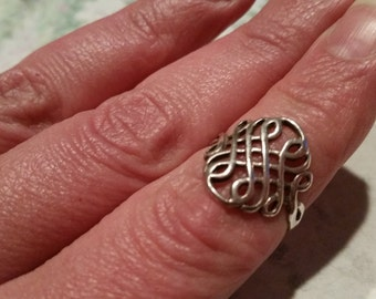 Vintage Sterling Silver Celtic Keltic Knot Band Ring 1990s 925 Women Irish Wiccan Pagan Size 6.75