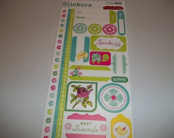 "DeLovely Cardstock Stickers by Cosmo Cricket 5.5"" x 13"" sheet"