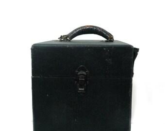 Vintage wood storage case, tall leather handle box