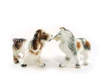 Vintage Japan dog figurines, collie and spaniel porcelain figures