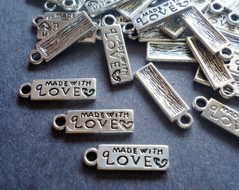 Small 'Made With Love' Regtangular Tag Charms - Silver - BULK Sets of 50 or 100
