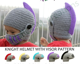SALE! Pdf Crochet PATTERN Children Knight Hat RolePlay Crocheted Knight Helmet Hat with Visor Pattern(regular price 4.50)