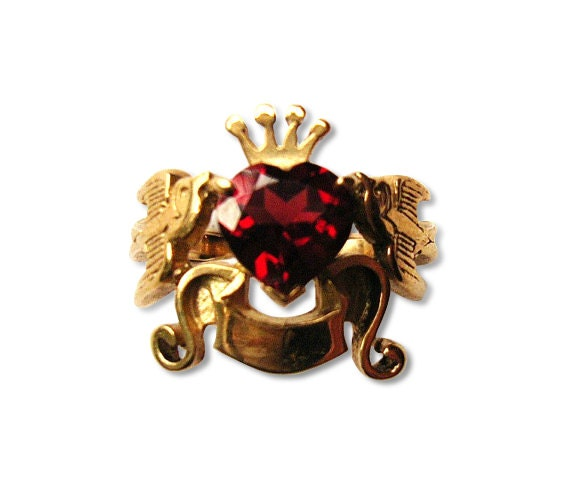 Swallows, Banner, Crown and Heart Shaped Garnet Stone Ring in 9ct Yellow Gold