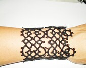 Filigree Lace Tatting (Frivolite)  Bracelet Cuff - Tatted Black Bracelet - Rocker Bracelet, Gothic Jewelry