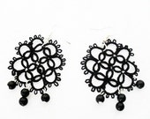 Tatted earrings with glass beads, black earrings